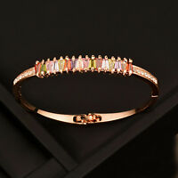 Elegant Multicolor Zircon Smooth Bangle Bracelet For Women Fashion Jewelry Sl381