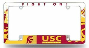 USC Trojans All Over Chrome Frame Metal License Plate University of Southern Cal