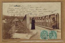 Cpa Carte Photo Champagne sur Seine entrée de la ville pont kh0365