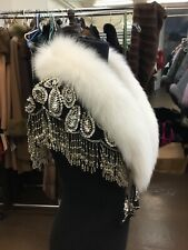 WHITE FOX FRINGED HAND BEADED CHIFFON CAPE CAPELET STOLE WRAP NEW ONE SIZE