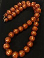 "Vintage Pearlized Orange Brown Moon Glow Acrylic Bead Necklace 32"""