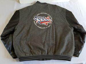 Reebok Super Bowl XXXVI 2002 Jeff Hamilton Patriots RamsLeather Jacket  Black XL
