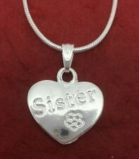 Sister Necklace Heart Silver Plated charm pendant and chain 18inch for sis sissy