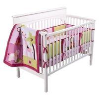 Tiddliwinks Sweet Safari Pink  3 piece Nursery Crib Set New Monkey Lion Giraffe