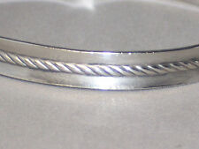 VINTAGE STERLING SILVER CABLE BANGLE BRACELET BY METRO CREATIVE JEWELERS