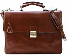 Leather Messenger Bag Briefcase Bag Satchel Brown Cenzo (895CS)