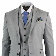 Mens 3 Piece Slim Fit Grey Blue Prince Of Wales Check Suit Formal Smart