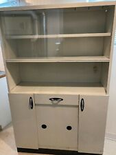 """1950'S Metal China Cabinet / Hutch White 42"""" Wide X 66"""" Tall X 14.5"""" Deep"""