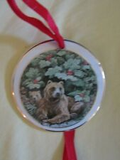 Grizzly Bears Round Disk Porcelain Ornament; By The Gallery Collection Of Alaska
