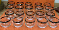 20 MCM Silver Rim Low-ball Cocktail Roly Poly Bar Glasses Mad Men Thorpe