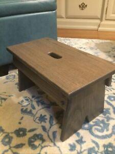 Solid Oak Step Stool, Footstool For Kitchen/bathroom/bedroom. Vintage Gray