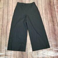 NEW White House Black Market Wide Leg Crop Pants Womens Size 4 Black Side Zip