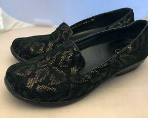 DANSKO Olivia Womens 42 / 11.5 12 Snake Print Black Bronze Comfort Loafers Shoes