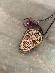 BETSEY JOHNSON Two-Tone Skull Pendant Necklace