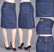 971506809 NWT Women Mid Length Classic Pencil Skirt ultra Stretch Denim Junior&Plus  #75575