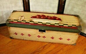 Vtg Hand Painted Wooden Trunk Old Primitive hinge lid Box -Upcycled Rustic décor