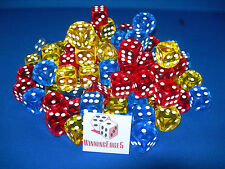 NEW 18 ASSORTED YELLOW RED AND BLUE ACRYLIC DICE 16MM 3 COLORS 6 OF EACH COLOR