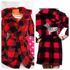 Victoria's Secret PINK Bling Sequin Dog Hooded Robe~Red/Black Buffalo Plaid~XS/S