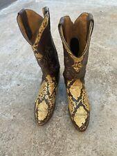 Men's Vintage Justin Western Cowboy Boots Size 9.5 D - Style 9074 Snake Skin?