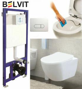 Spülrandlos Hänge Wand-WC Belvit Vorwandelement Spülkasten und SoftClose Deckel