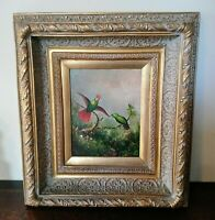 Antique Style Oil Painting Beautiful Birds in a Landscape O/C Art Signed Framed