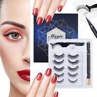 Lampelc Magnetic Eyeliner and Eyelashes Kit, No Glue 3D Silk Faux Lashes set 5 P