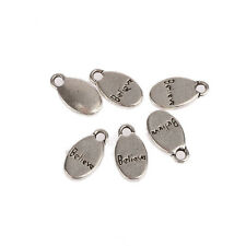 Tibetan Silver Oval Word Beads Charms Pendant fit DIY 10pcs Free Shipping 17*9mm