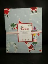 Pottery Barn Kids Holiday Skating Santa Percale Duvet Cover Twin #2220