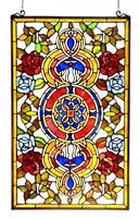 Stained Glass Chloe Lighting Victorian Red And Blue Roses Window Panel 20 X 32""