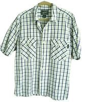 Woolrich Mens Size M Green White Plaid Cotton Short Sleeve Textured Casual Shirt