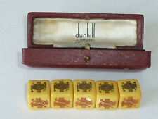 More details for vintage dunhill poker dice x 5 bakelite ace king queen jack 10, 9 &  fitted box