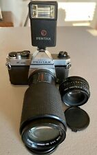 Pentax K1000 with 50mm f2.0 Lens and 80-205mm Takumar Lens and Pentax Flash