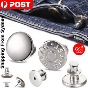 12X Button Pins for Jeans Pants No Sew Instant Adjustable Jean Button Replacemen