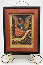 Original PJ Rankin Hults Watercolor Peace Eagle Paper Cutting Primitive Folk Art