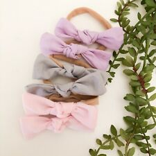 6 x hair tie pack baby newborn girl fabric nylon bow soft pink grey lilac purple