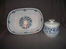 Noritake Progression Blue Moon Oval Vegetable Bowl and Sugar Bowl with Lid