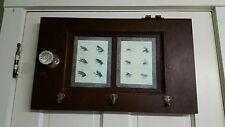 Rustic Wall Coat Rack / Hat Rack - Old Door w/ 3 Coat Hooks Fly Fishing Theme