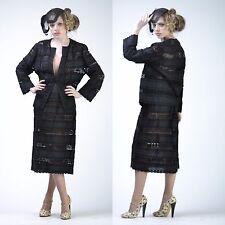 VTG 70s 40s Black SHEER Crochet Lace Boho Wedding Party Dress Jacket SUIT M-L