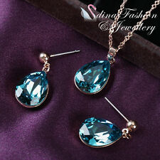 18K Rose Gold Plated Made With Genuine Swarovski Element Sapphire Water Drop Set