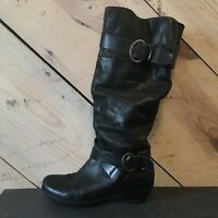 Pikolinos Size 37 EUR Women's Boots Leather Slouch Buckle Black Zip Tall Kitten