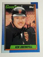 1990 Topps Ken Oberkfell Autograph Braves Cardinals Astros Giants Auto Card #488