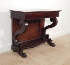 ANTIQUE Empire 1820-30s Crotch Mahogany Claw Foot Pier Mirror Table