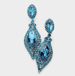 "1.8"" Long Teal Blue Austrian Crystal Pageant Wedding Bridal Chandelier Earrings"