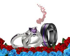 His and Her STAINLESS ST BLACK Purple cz MATCHING engagement WEDDING Rings set