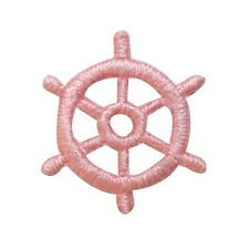 ID 3658 Lot of 3 Tiny Ship Wheel Patch Boat Nautical Embroidered IronOn Applique
