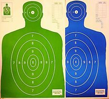 Paper Shooting Targets 50 Green/50 Blue Silhouette Gun Pistol Rifle B-27 Qty:100