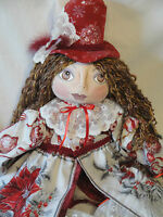 OOAK Christmas Art Doll hand made by Artist Cloth art doll