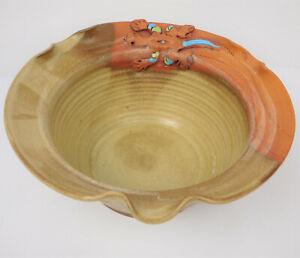 "Helwig 10.5"" Art Pottery Bowl/Desert-Lizard Theme/Earth-Tones Colors/Collectible"