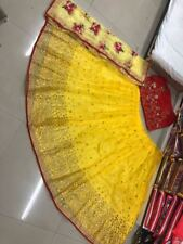 Yellow Lehenga Choli Ghagra Indian Pakistani Designer Lengha Bollywood Saree