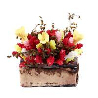 1/12 Dollhouse Miniature Multicolor Flower Bush With Wood Pot B7Y2